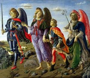 Les trois archanges : Michel, Gabriel (avec le lys) et Raphaël (tient Tobie par la main) par Francesco Botticini.
