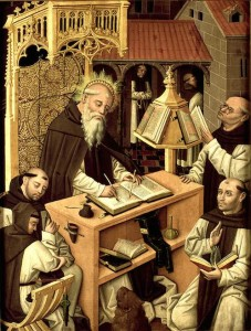 Saint Jerome in the scriptorium by Master of Parral