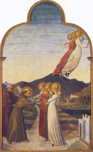 Le mariage de saint François avec l'Ange de Pauvreté (en robe brune, rapiécée) tandis que ses sœurs Chasteté (en blanc) et Obéissance (en rose, porte un joug) attendent. Noter : contrairement à ses sœurs, Pauvreté n'a pas de chaussure et regarde mélancoliquement saint François en partant. (Sassetta 1392-1450 env.)