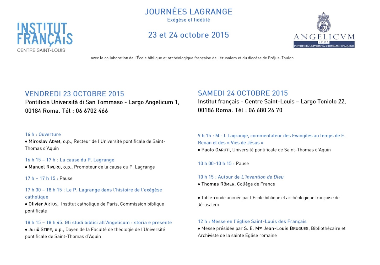 Journées Lagrange. Rome. 23-24 octobre 2015