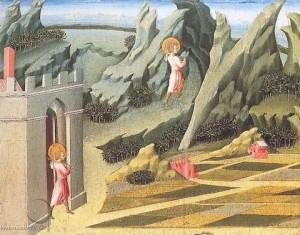 St Jean Baptiste se retire au désert. Giovanni di Paolo.1