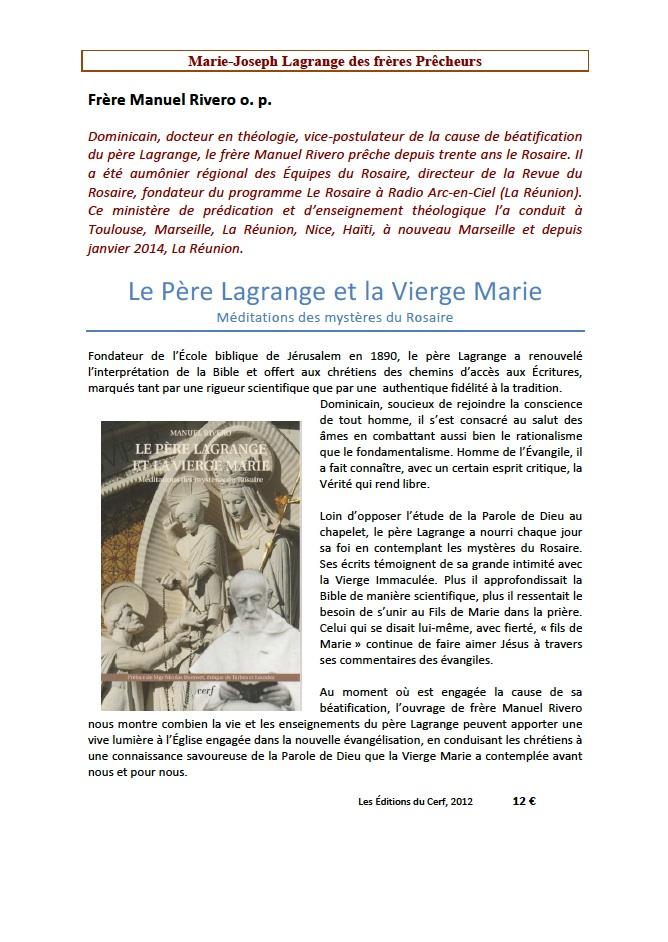Le Père Lagrange et la Vierge Marie