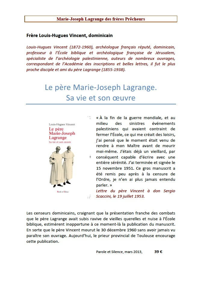 Le père Marie-Joseph-Lagrange. Sa vie et son oeuvre