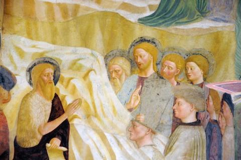 Saint Jean Baptiste annonce l'arrivée de Jésus. Fresque de Masolino da Panicale (XIVe). Baptistère de Castiglione