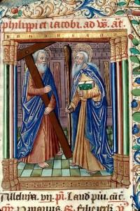 Saint Philippe et saint Jacques. Enluminure du Bréviaire de Besançon (avant 1490).
