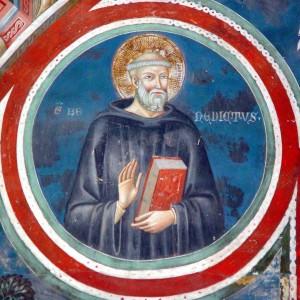 Saint Benoît de Nursie Cloître de Subiaco, Ombrie, Italie.