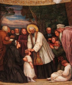 Saint Curé d'Ars bénit les enfants (détail). Peinture de Paul Borel. Basilique d'Ars