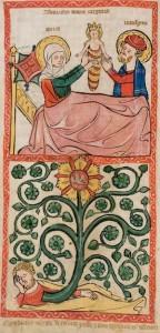 Nativity of Marie Speculum Humanae Salvationis, Westfalen oder Köln, um 1360. ULB Darmstadt, Hs 2505, fol. 8v