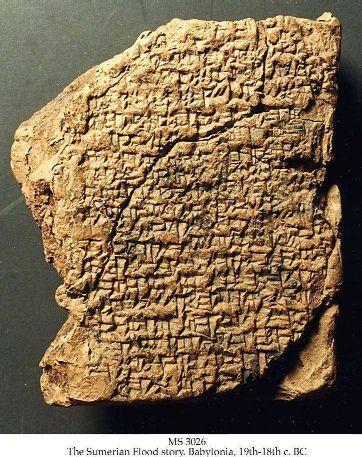 Tablette cunéiforme trouvée à Babylone relatant un déluge en sumérien