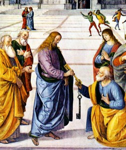 Christ Handing the Keys to St. Peter by Pietro Perugino (1481-82) Fresco, 335 x 550 cm Cappella Sistina, Vatican