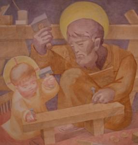 saint Joseph-and-Jesus-detail_Fresco in the St Joseph Chapel St Benedict's Abbey, Atchison