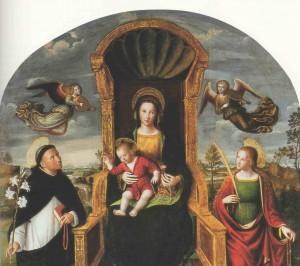 Vierge du Rosaire (détail) Louis Brea (1450-1523) église des Dominicains, Taggia (Italie)