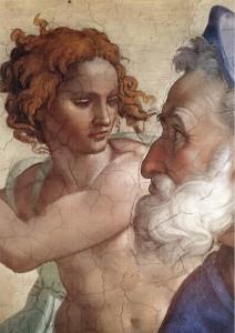 Le prophète Ézéchiel (détail) par Michel-Ange-Chapelle Sixtine