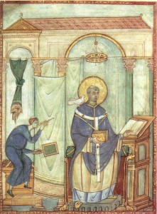 Saint Grégoire Ier Miniature du Registrum Gregorii de Trèves (983)