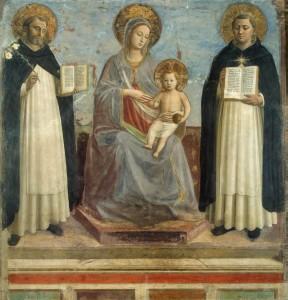 Marie et l'Enfant entre saint saint Dominique et saint Thomas d'Aquin par fra Angelico