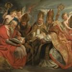 Pères de l'Église latine. St Jérôme, Ambroise de Milan, Augustin d'Hippone, Grégoire 1er. Jacob Jordaens 1593-1678.