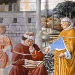 Saint Augustin lisant les lettres de saint Paul. Benozzo Gozzoli (15e) San Gimignano. Italie.