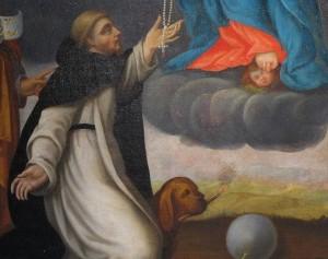 Saint Dominique recevant le rosaire des mains de la Vierge Marie (détail). Église des Dominicains. Strasbourg.
