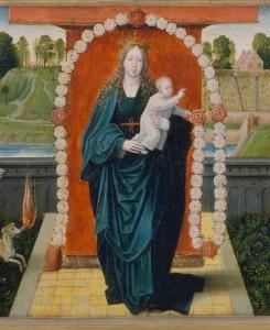 Vierge du Rosaire. Les quinze mystères (détail) Peintre hollandais (1515)