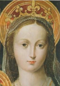 Vierge en trône (détail) 16e. F. Brea. Église St-Barthélemy-Nice