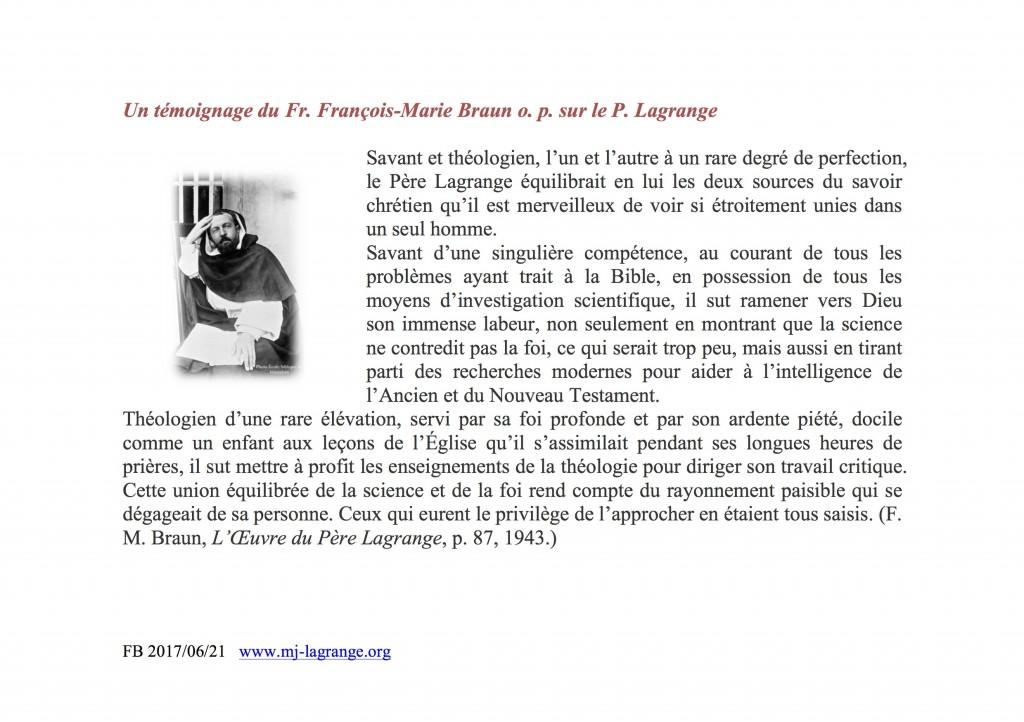 21 juin 2017-Un témoignage du Fr. F.-M. Braun o.p.