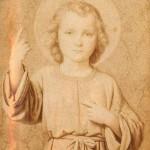 """""""Je suis le Jésus de Thérèse. Si quelqu'un est tout petit, qu'il vienne à moi.""""<br /> Image confectionnée par Thérèse pour son bréviaire (1885)."""