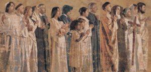 The Communion of Saints, détail d'une tapisserie par John Nava (2003) Cathédrale catholique de Notre-Dame des Anges-Los Angeles. Tous droits réservés.