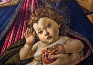 La Vierge à la grenade, Sandro Botticelli, 1487, (détail), Galerie des Offices, Florence, Italie.